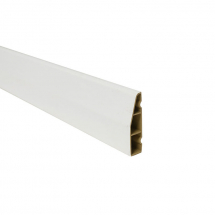 Chamfered Plastic Architrave 60mm x 5.5M White Satin