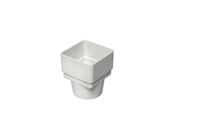 Square To Half Round Pipe Adaptor White
