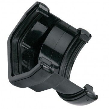 Square To Half Round PVC Connector Black