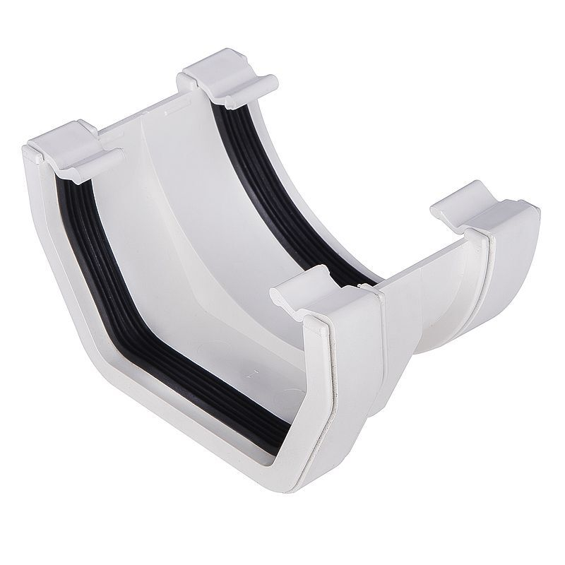 Square To Half Round PVC Connector White